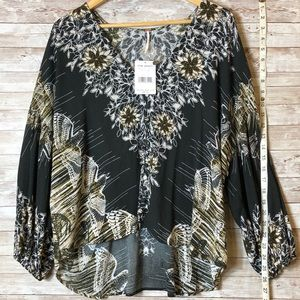 NWT Free People Birds of A Feather Peasant Top, XS